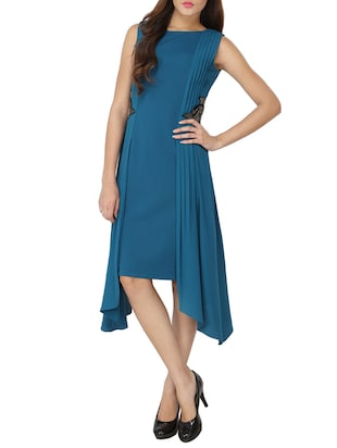 teal blue georgette asymmetrical dress