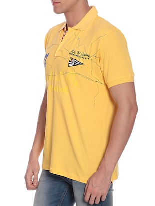 yellow chest print t-shirt - 12249214 - Standard Image - 2