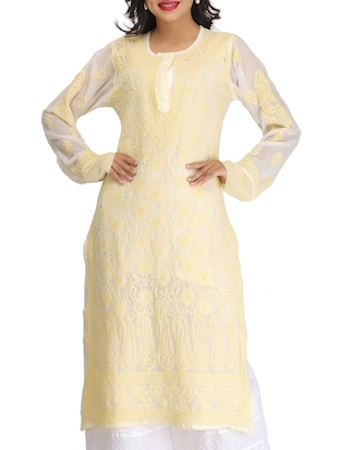 cream none straight kurti