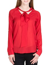 red polyester front bow tie up top -  online shopping for Tops