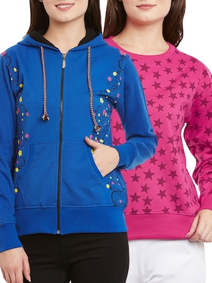 set of 2 multi colored fleece sweatshirts