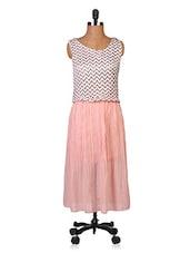 Peach Printed Sleeveless Georgette Dress - By