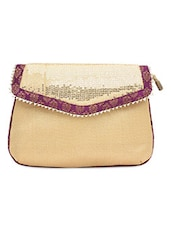 Beige Sequined Sling Bag With Brocade Work - By