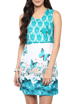 white and sea green printed poly crepe dress