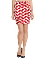 red polyester pencil skirt -  online shopping for Skirts