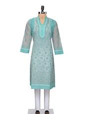Turquoise Cotton Chikankari Kurta - By