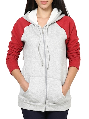 grey cotton hooded sweatshirt