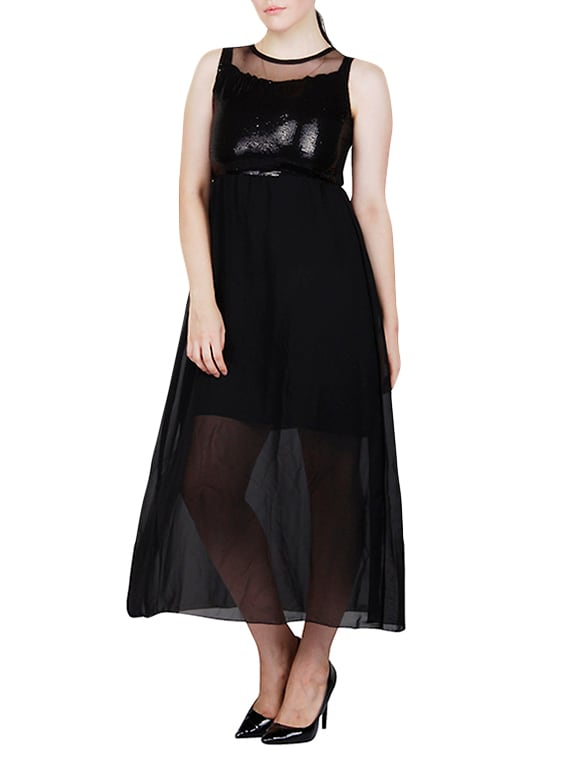 3749f811be Buy Solid Black Georgette Maxi Dress by Shyammc - Online shopping ...
