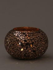 Brown Mosaic Glass Tea Light - By