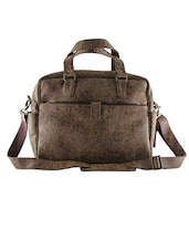 Solid Brown Leatherette Laptop Bag - By