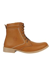tan leatherette High ankle boot -  online shopping for Boots