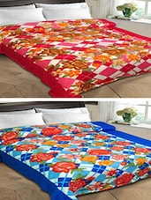 Set of 2 Floral Print Double Bed Fleece Blankets -  online shopping for Blankets