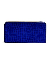 Blue Leatherette Textured Clutch - By