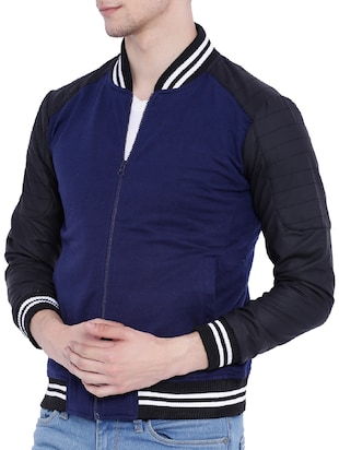 blue cotton bomber jacket - 12268738 - Standard Image - 2