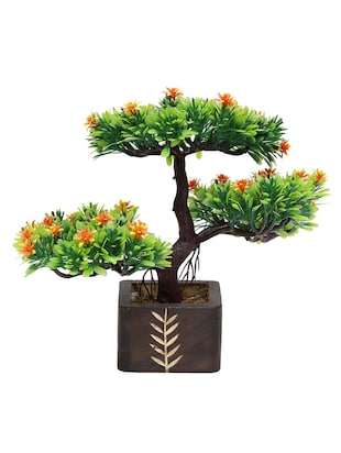 Random Artificial Potted Bonsai 3 Headed Tree Orange Flowers