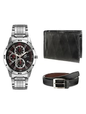 Arum Combo Of Black In Silver Watch & Black Wallet With Belt -  online shopping for Men Chronograph Watches