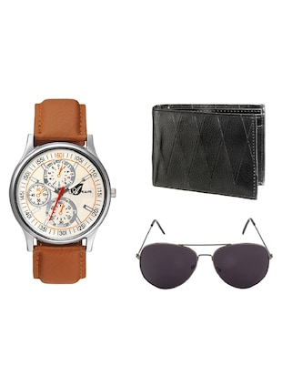 ARUM BROWN LEATHER WATCH COMBO WITH BLACK SUNGLASS   &  WALLET