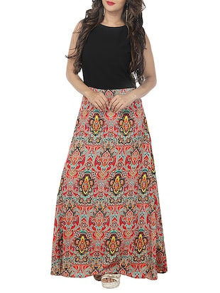 black printed crepe maxi dress