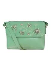 Green Embellished Leatherette Sling Bag - By