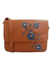 Brown Embellished Leatherette Sling Bag - By