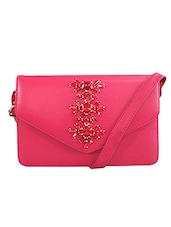 Pink Faux Leather Sling Bag - By
