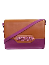 Purple Faux Leather Sling Bag - By