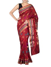 Red Art Silk And Zari Saree - By