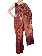 Maroon Art Silk And Zari Saree - By