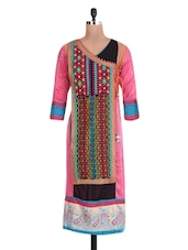 Pink Cotton Embroidered Kurta - By