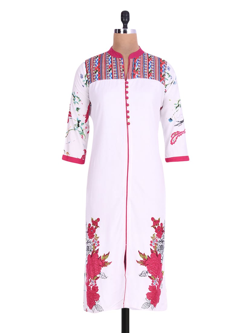 White Rayon Printed Kurta - By