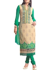 Beige And Green Georgette Unstitched Suit Set - By