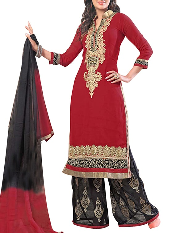 Black And Maroon Georgette Unstitched Suit Set - By