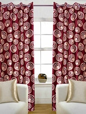Set Of 2 Pcs Red Abstract Design Polyester Door Curtain - By