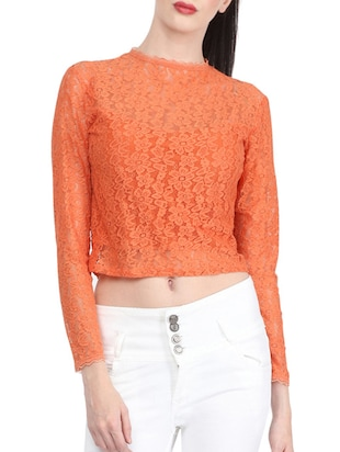 orange lace crop top -  online shopping for Tops
