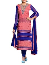 Royal Blue And Peach Embroidered Unstitched Suit Set - By