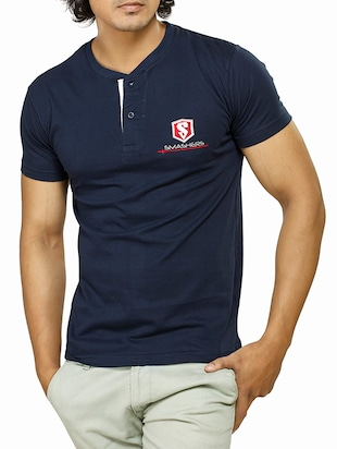 navy blue cotton t-shirt -  online shopping for T-Shirts