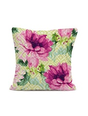 Multi Colored Floral Print Cotton  Cushion - By