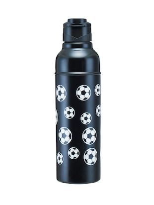 black stainless steel football print bottle