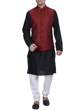 black and maroon silk blend ethnic wear set -  online shopping for ethnic wear sets