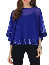 blue sequined net cape -  online shopping for Capes