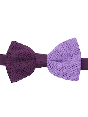purple knitted bow ty