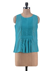Teal Blue Gathered Poly Georgette Top - By