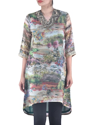 Multicolored Georgette Printed Kurta