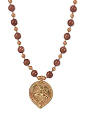 Brown Gold Plated Long Necklace - By