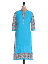 Turquoise Printed Quarter-sleeved Cotton Kurta - By