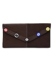 Textured Brown Faux Leather Envelope Clutch - By