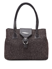 Textured Brown Jute Handbag - By