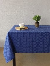 House This Jharokha Jaali 100% Cotton Table Cover - Blue - By