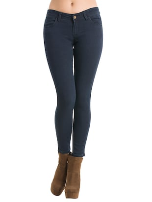 navy blue solid jeans