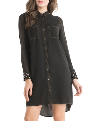 solid black shirt dress
